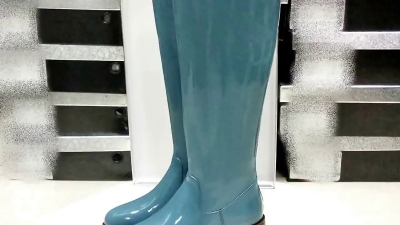 VANKARING brand patent leather knee high boots for woman platform rain boots low heel all matched…