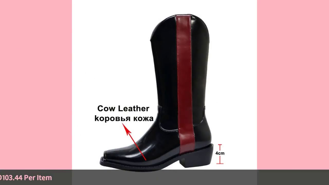 Meotina Autumn Western Boots Women Natural Genuine Leather Thick Heels Mid Calf Boots Mixed Color…
