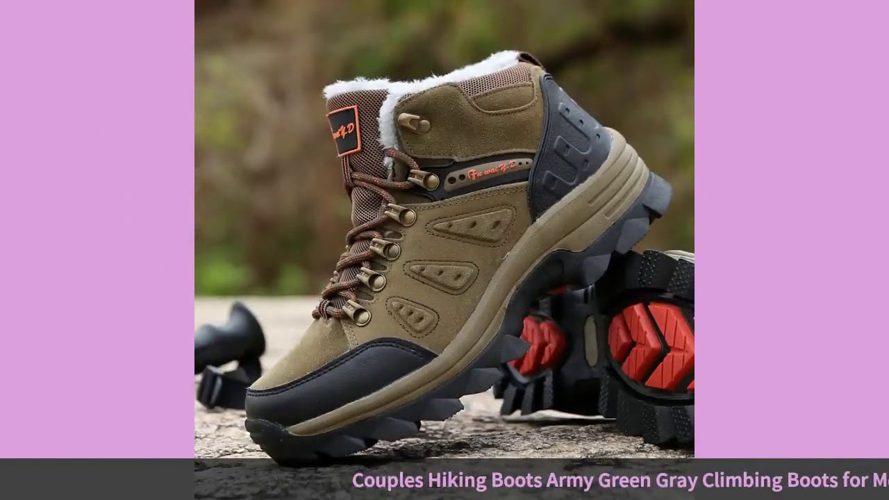 Couples Hiking Boots Army Green Gray Climbing Boots for Men Big Size 36 47 Winter Sneakers for Wo…