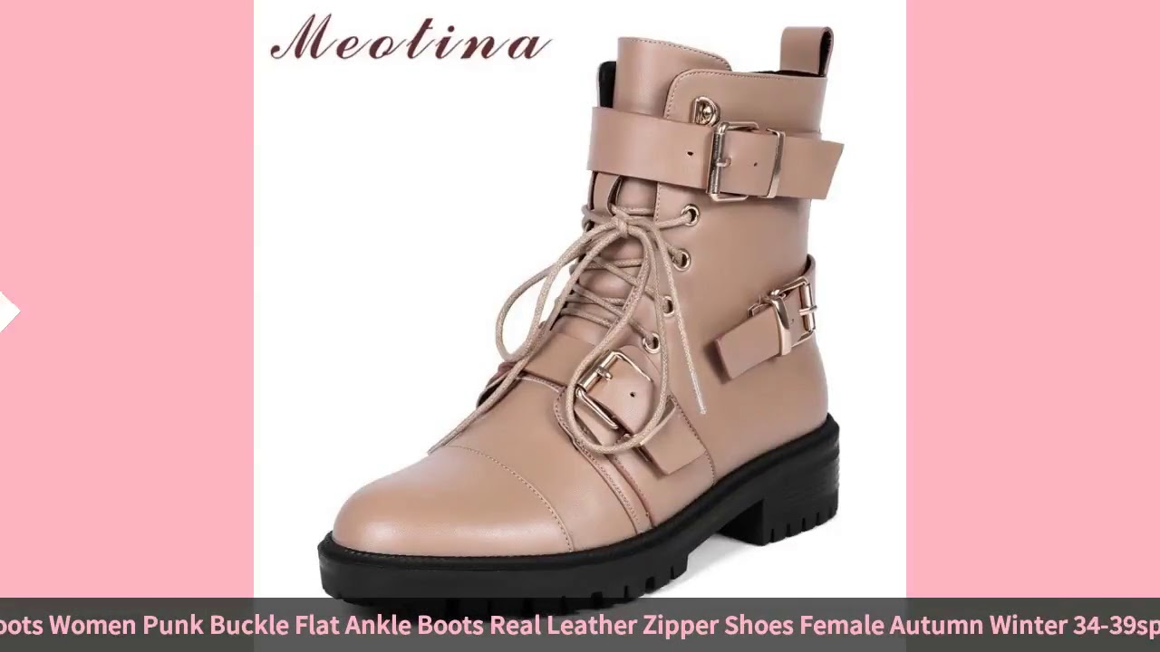 Meotina Genuine Leather Motorcycle Boots Women Punk Buckle Flat Ankle Boots Real Leather Zipper S…