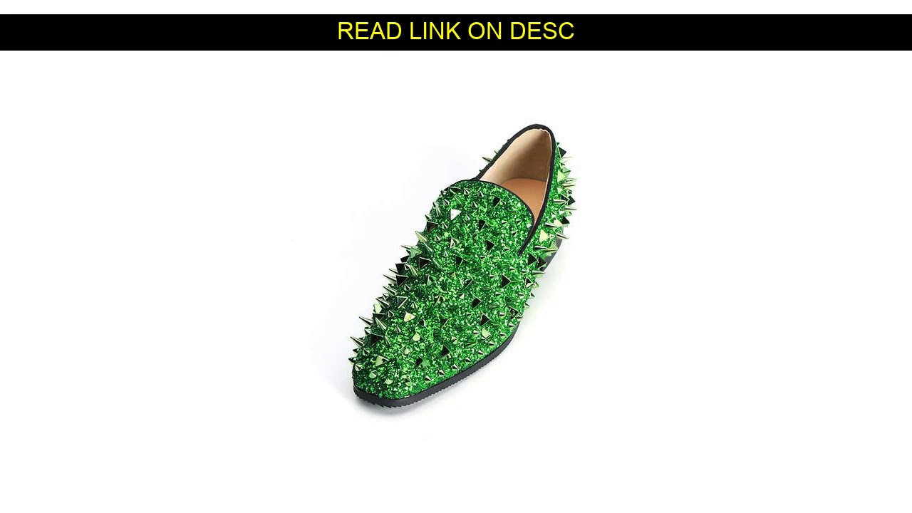 5% Off D I S C O U N T for  Shiny Gold Spiked Rivets Loafers Men Casual Shoes Crystal Embellished S