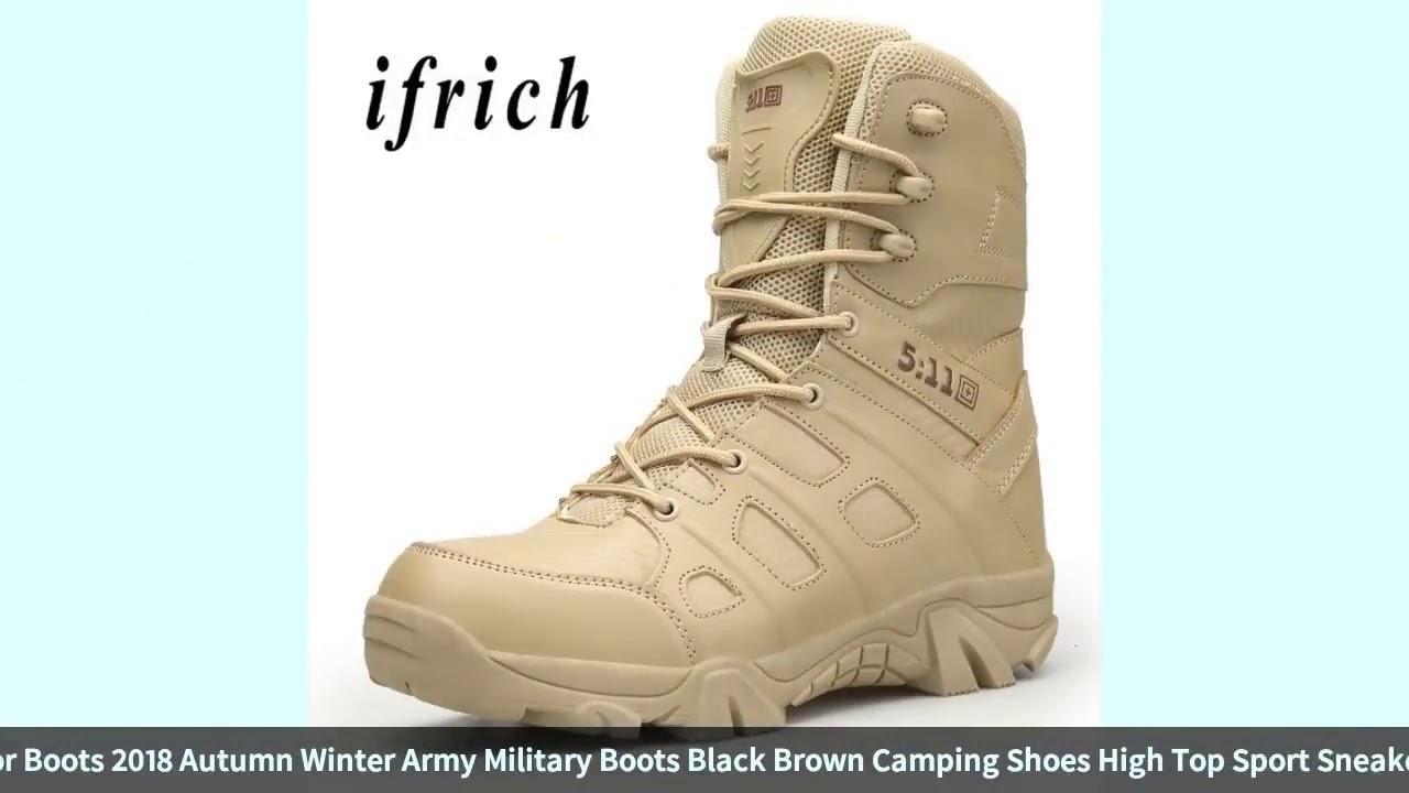 Men Hiking Shoes Men Outdoor Boots 2018 Autumn Winter Army Military Boots Black Brown Camping Sho…