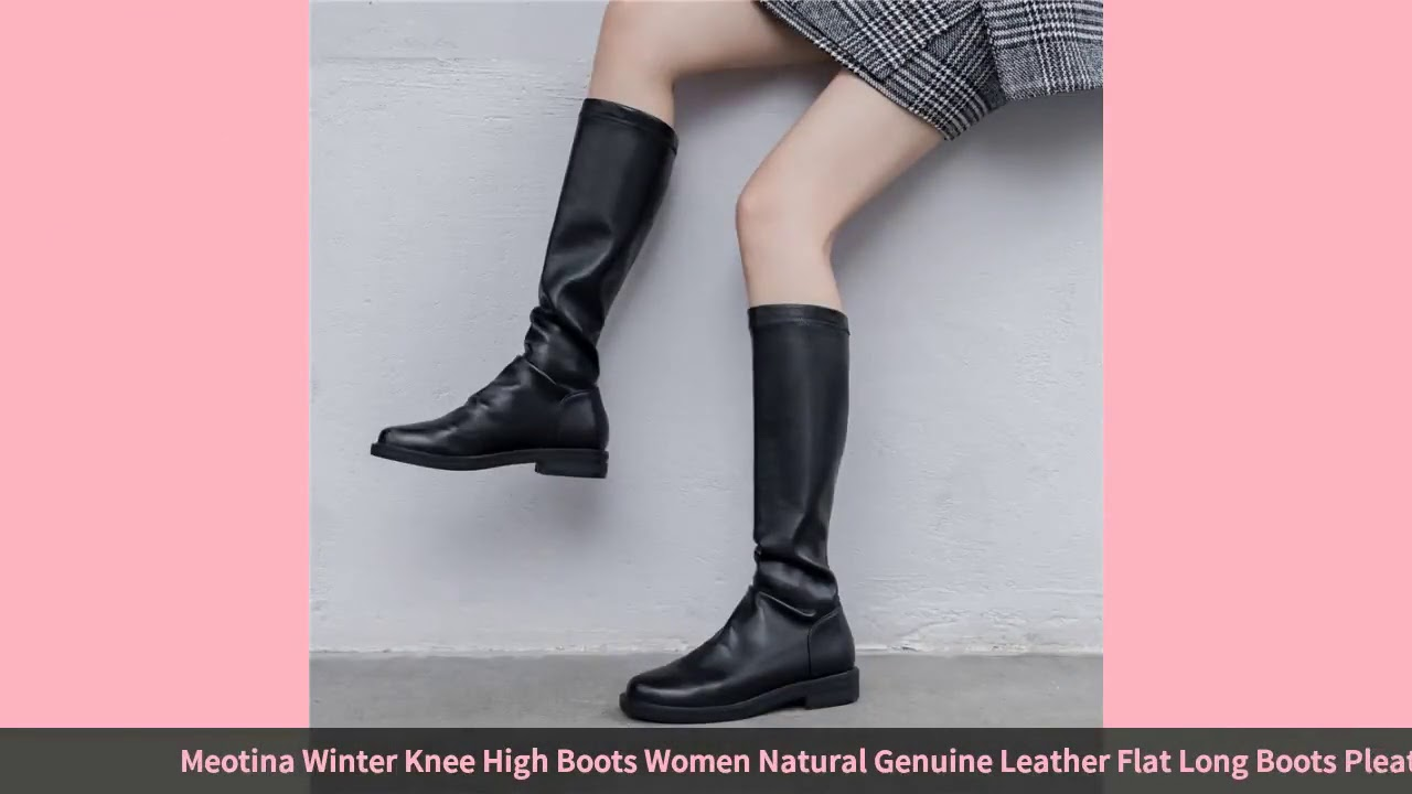 Meotina Winter Knee High Boots Women Natural Genuine Leather Flat Long Boots Pleated Round Toe Sh…