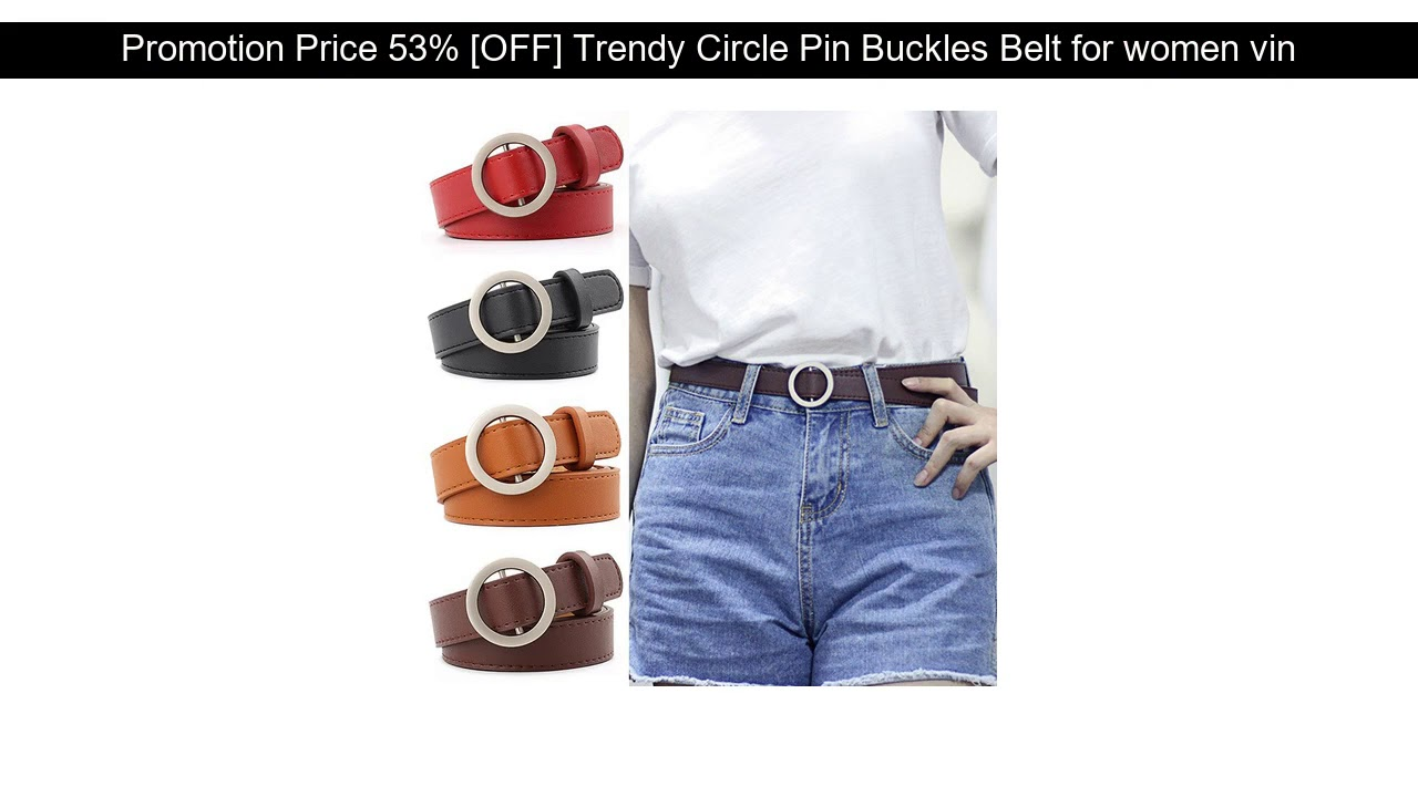 √ Cheap Price 53% [OFF] Trendy Circle Pin Buckles Belt For Women Vintage Girls Pants Off White Navy