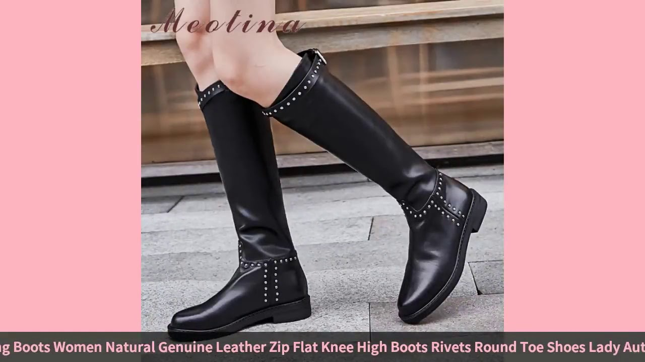 Meotina Winter Riding Boots Women Natural Genuine Leather Zip Flat Knee High Boots Rivets Round T…