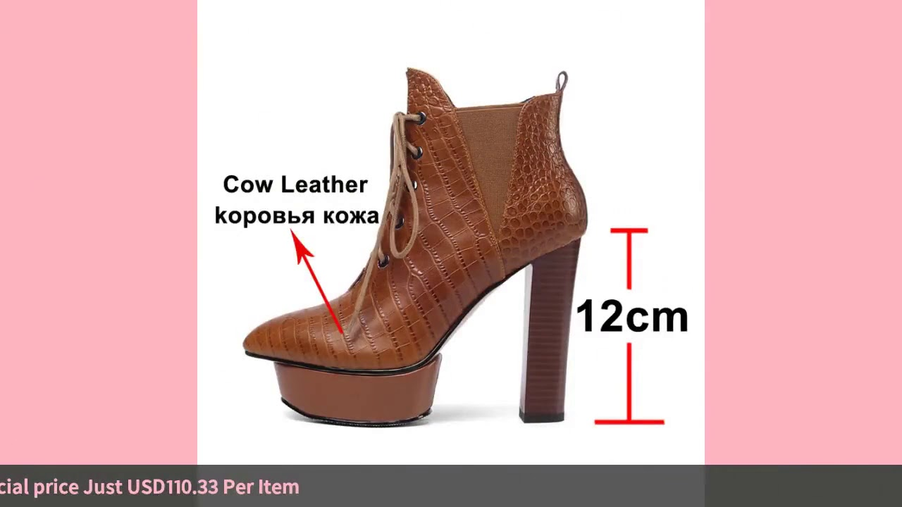 Meotina Fall Ankle Boots Women Natural Genuine Leather Platform Thick Heel Short Boots Lace Up Su…
