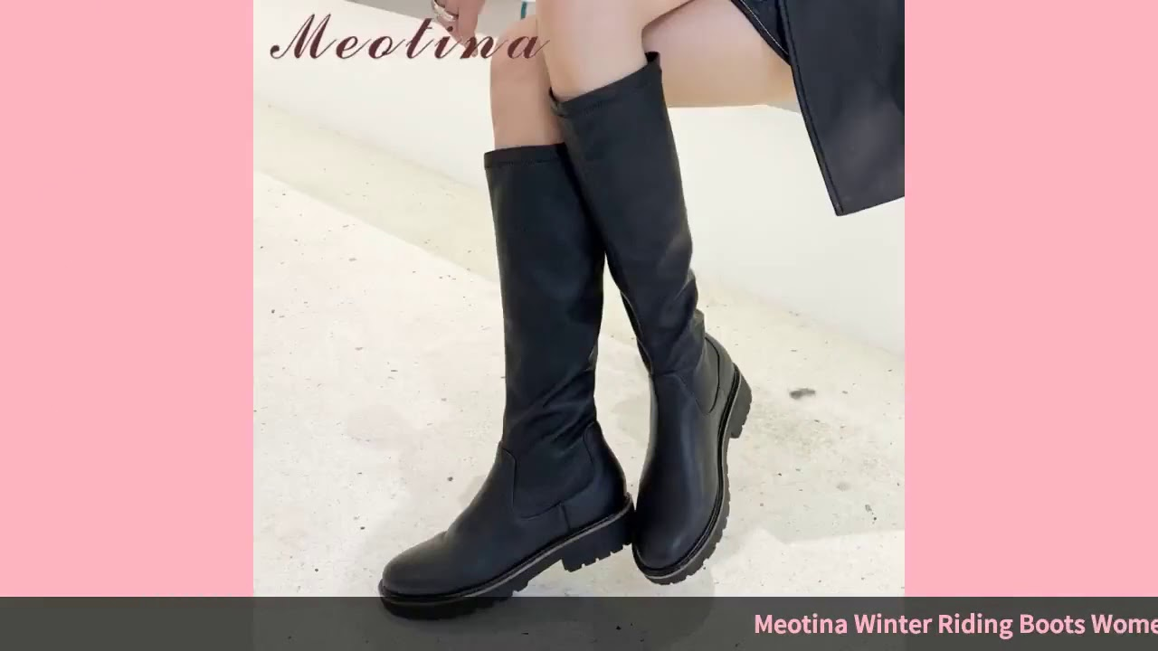 Meotina Winter Riding Boots Women Natural Genuine Leather Thick Heel Knee High Boots Cow Leather …