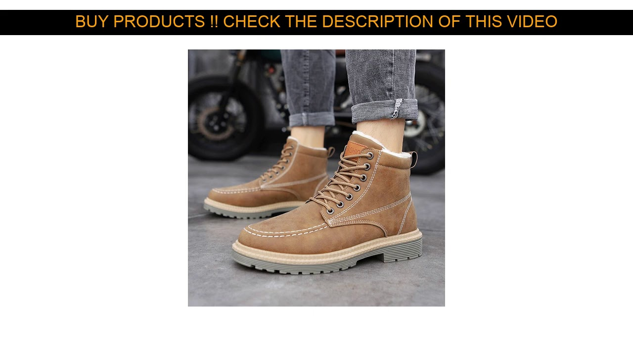Buy 2019 Snow Boots Men Winter Plush Warm Men Motorcycle Boots Lace-Up Non-slip Male Ankle Boots Wa