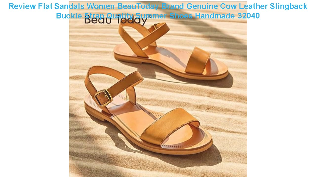 Review Flat Sandals Women BeauToday Brand Genuine Cow Leather Slingbac
