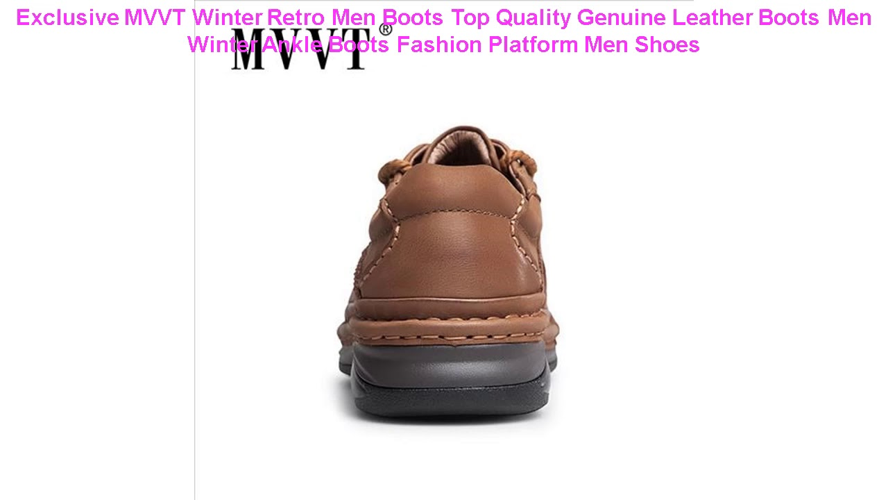 Exclusive MVVT Winter Retro Men Boots Top Quality Genuine Leather Boot