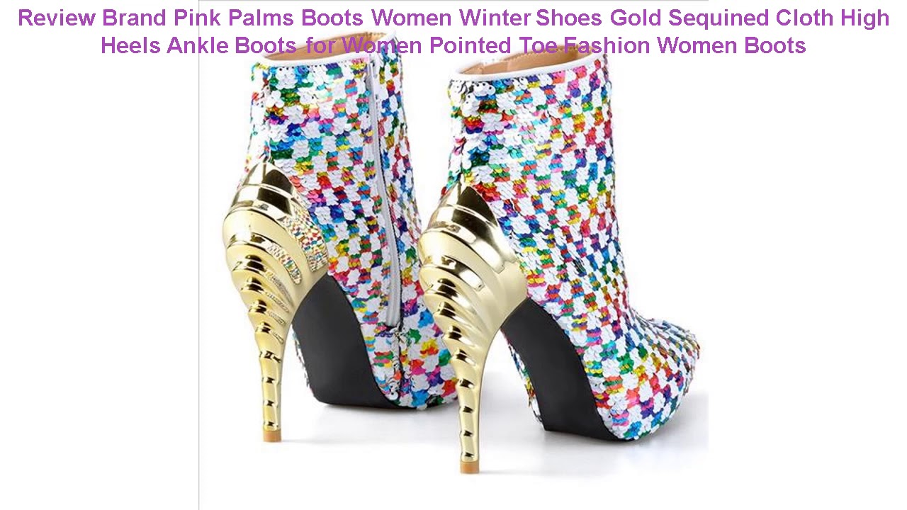 Review Brand Pink Palms Boots Women Winter Shoes Gold Sequined Cloth H