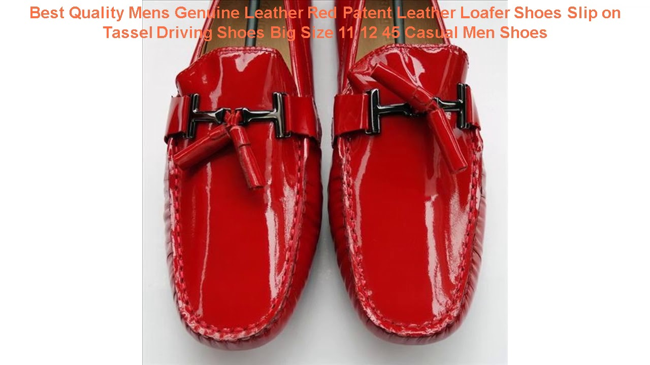 Best Quality Mens Genuine Leather Red Patent Leather Loafer Shoes Slip