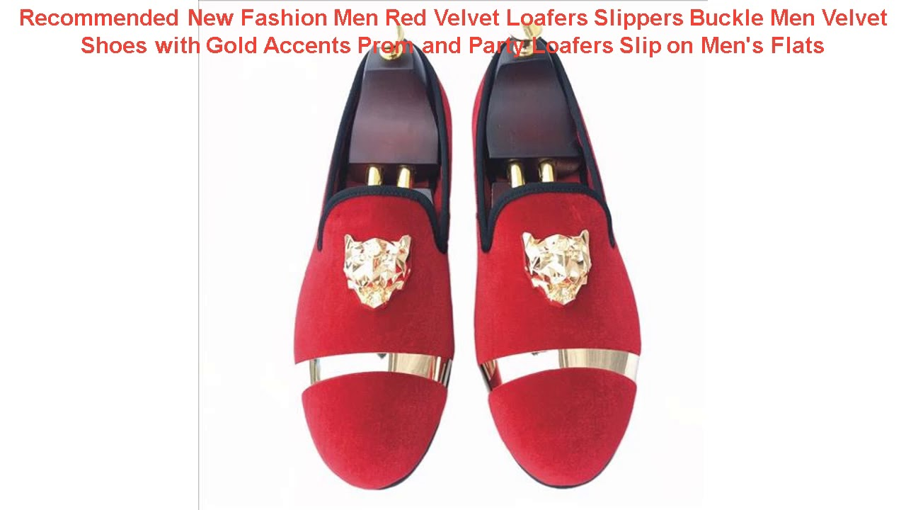 Recommended New Fashion Men Red Velvet Loafers Slippers Buckle Men Vel