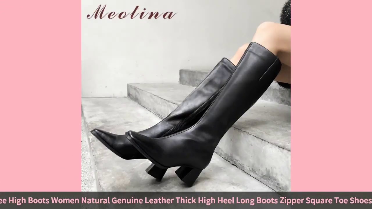 Meotina Autumn Knee High Boots Women Natural Genuine Leather Thick High Heel Long Boots Zipper Sq…