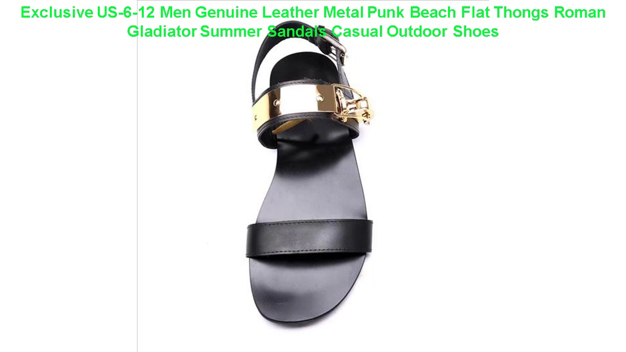 Exclusive US-6-12 Men Genuine Leather Metal Punk Beach Flat Thongs Rom