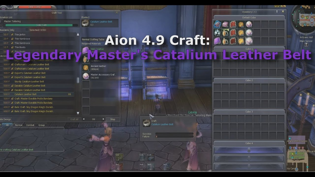Aion 4.9 Craft: Legendary Master's Noble Catalium Leather Belt (100 Attempts)