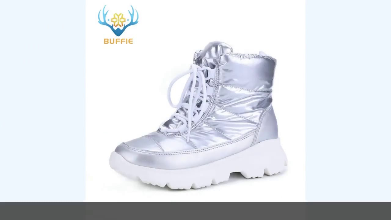 2019 Silver New Women Boots Winter Warm Snow Boots Low Upper Non Slip White Outsole 50% Natural W…