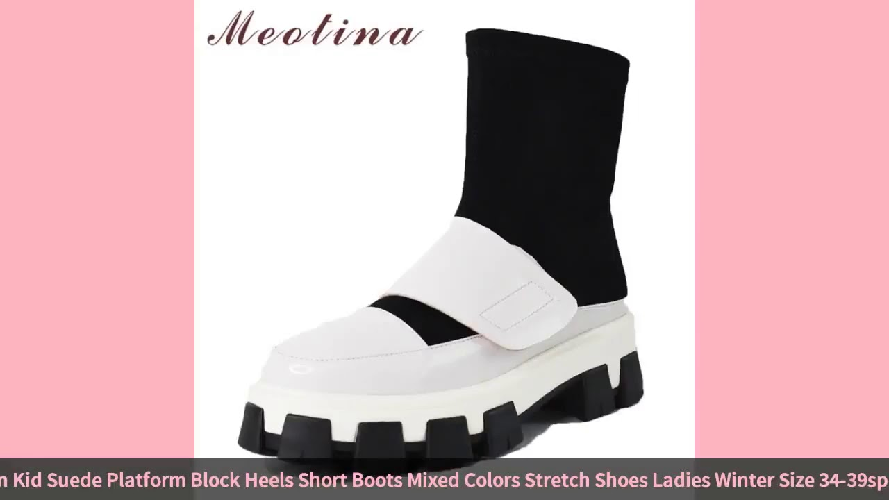 Meotina Autumn Ankle Boots Women Kid Suede Platform Block Heels Short Boots Mixed Colors Stretch …