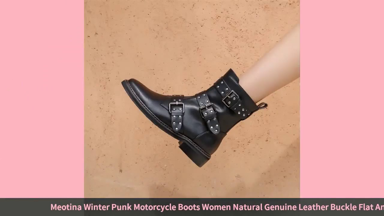 Meotina Winter Punk Motorcycle Boots Women Natural Genuine Leather Buckle Flat Ankle Boots Rivets…