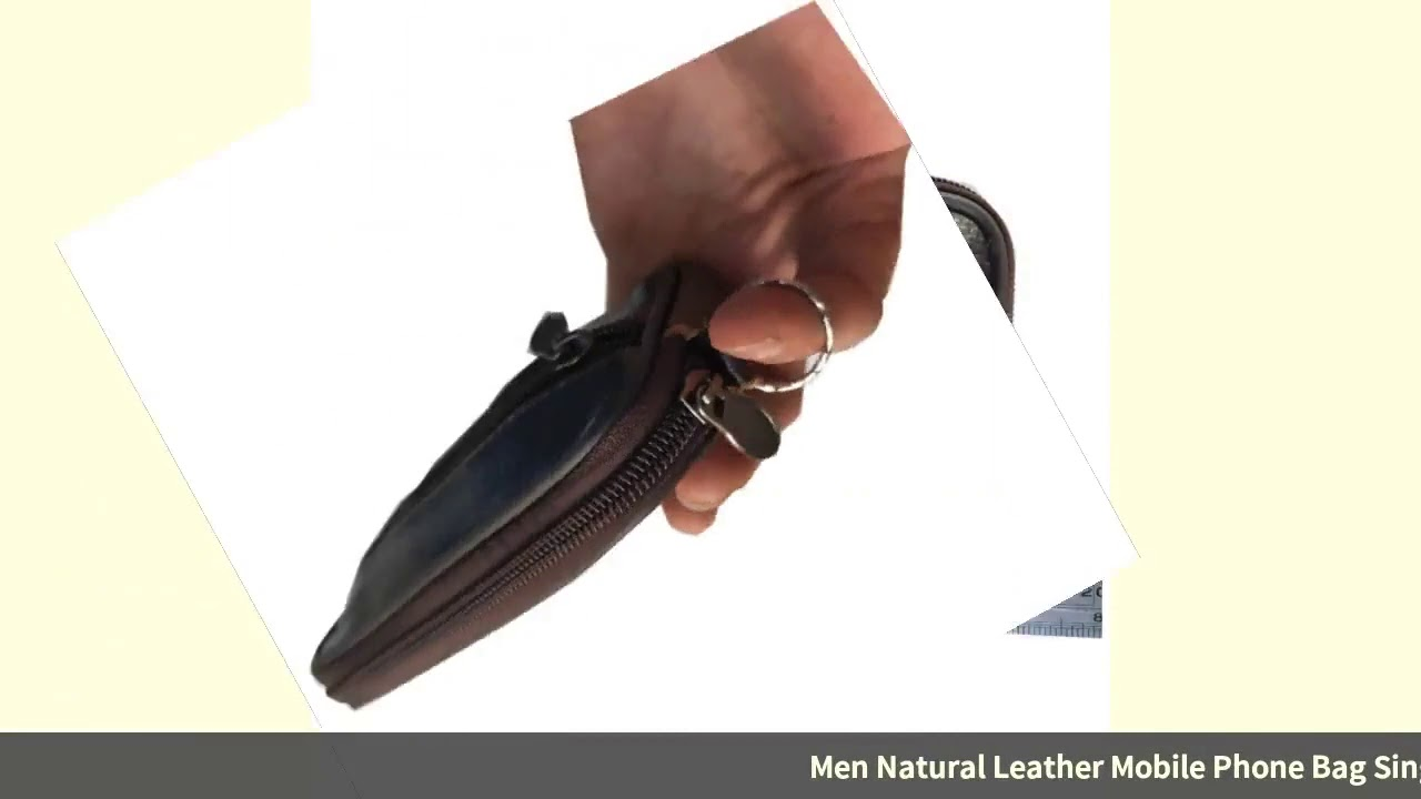 Men Natural Leather Mobile Phone Bag Single Layer Wear Leather Belt Mobile Phone Waist Bag OPPO H…