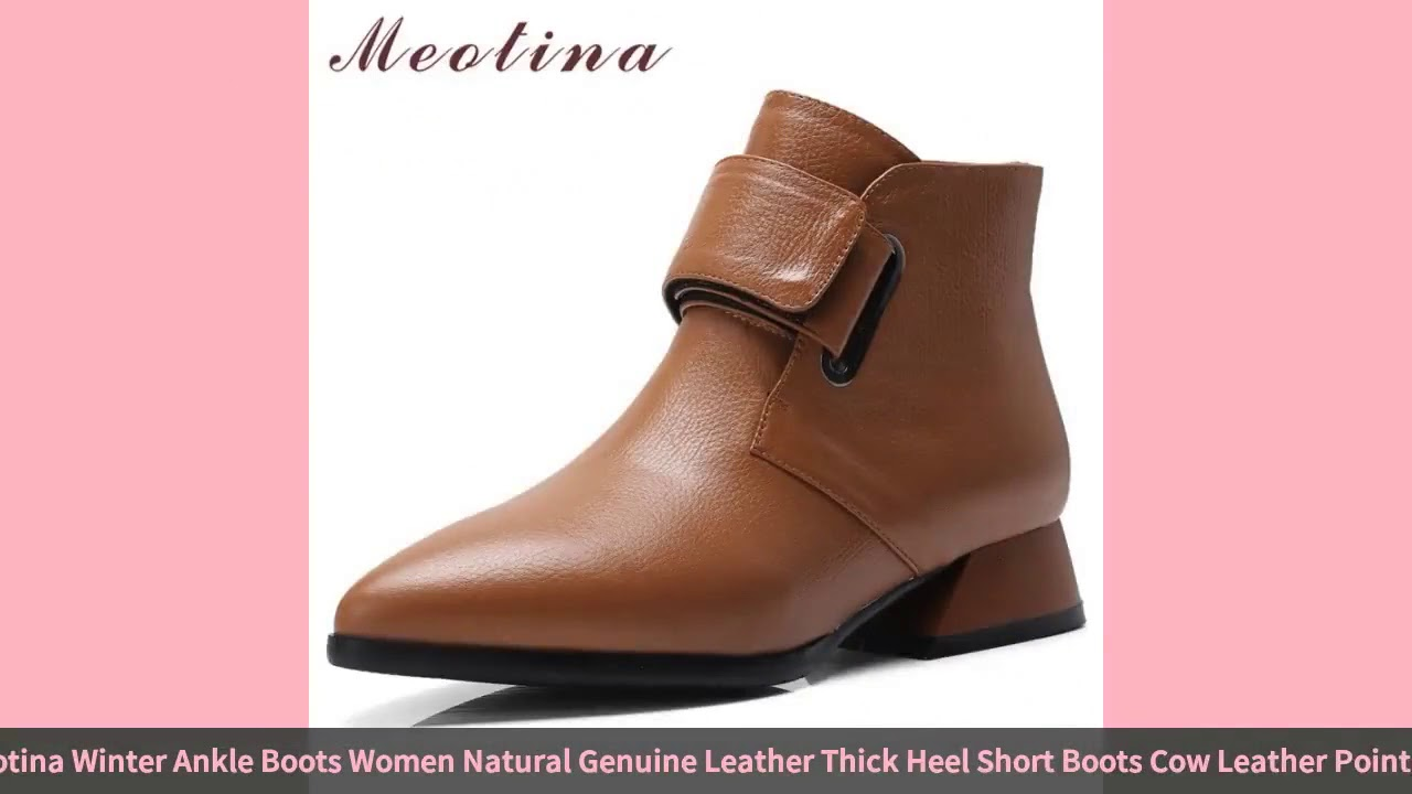Meotina Winter Ankle Boots Women Natural Genuine Leather Thick Heel Short Boots Cow Leather Point…