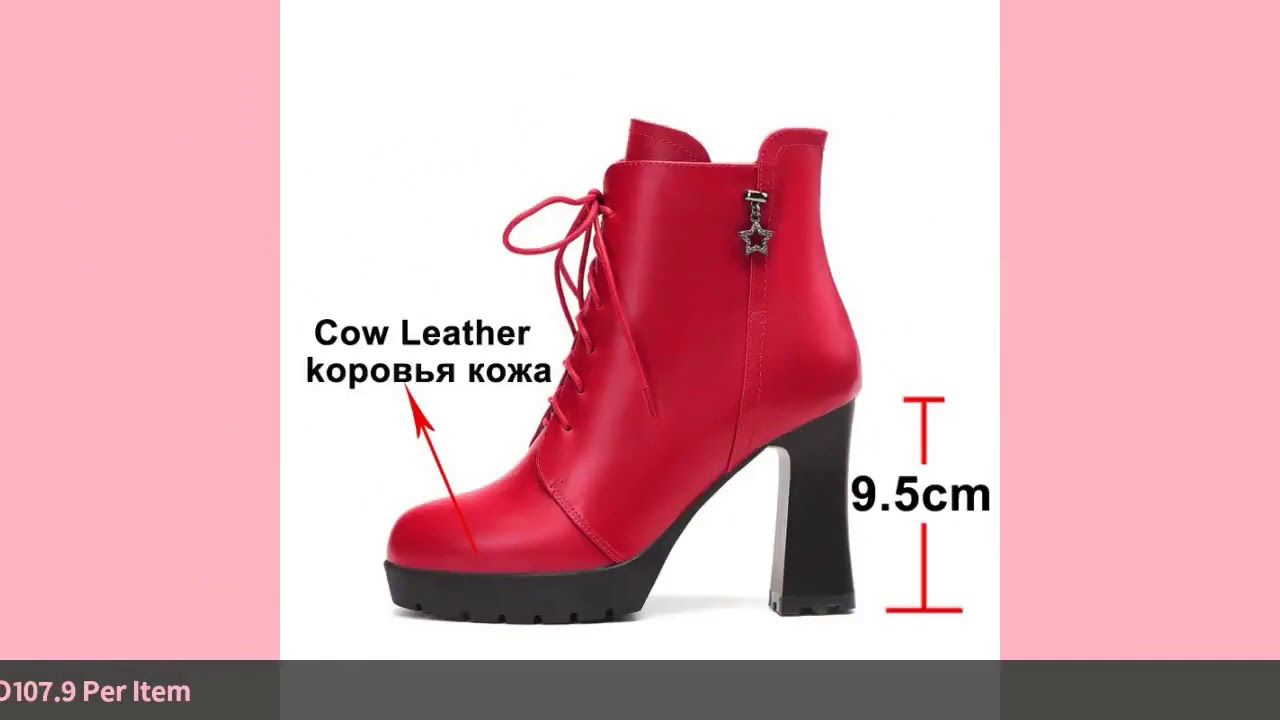 Meotina Women Ankle Boots Winter Natural Genuine Leather Platform Thick Heel Short Boots Zip Supe…