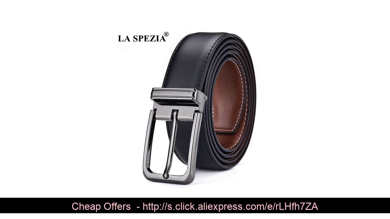 ☄ LA SPEZIA Double Sided Genuine Leather Belt Male Brown Black Men Casual High Quality Belt Pin Buc