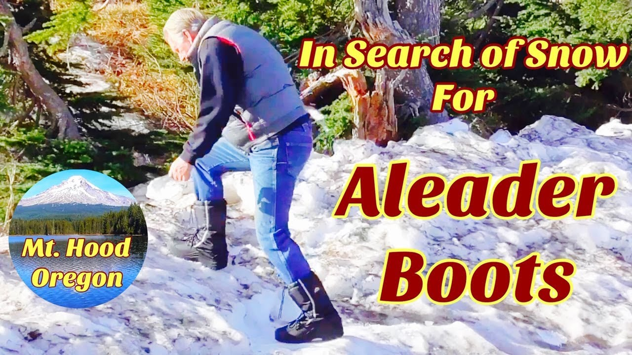 In search of snow with our new Aleader Snow Boots on Mt Hood.