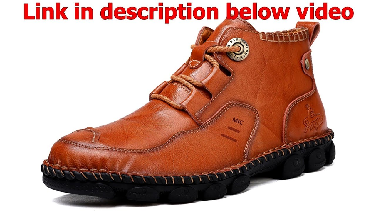 Men Soft Cowhide Leisure Sewing thread Business Casual Ankle Boots – Price – Buy
