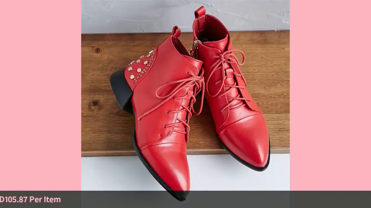 Meotina Genuine Leather Ankle Boots Women Real Leather Rivets Flat Short Boots Zip Pointed Toe La…