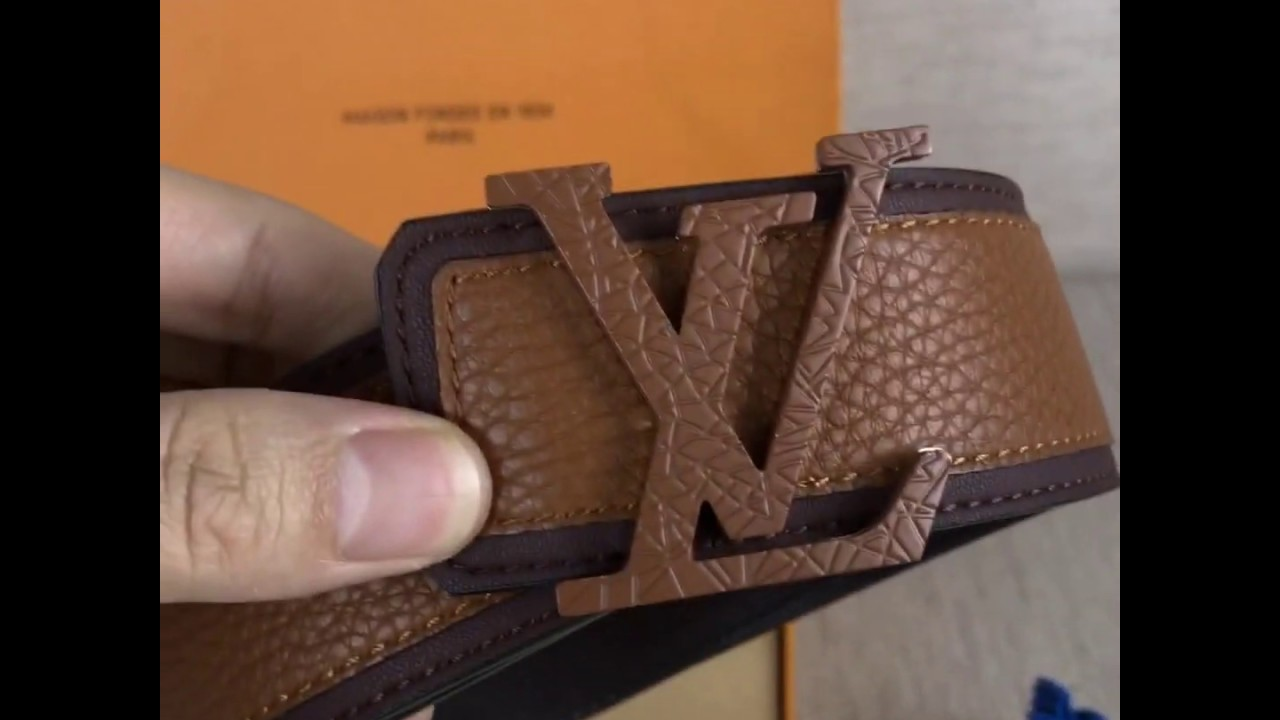 Unboxing Louis Vuitton Monogram style leather belt with Gold Buckle