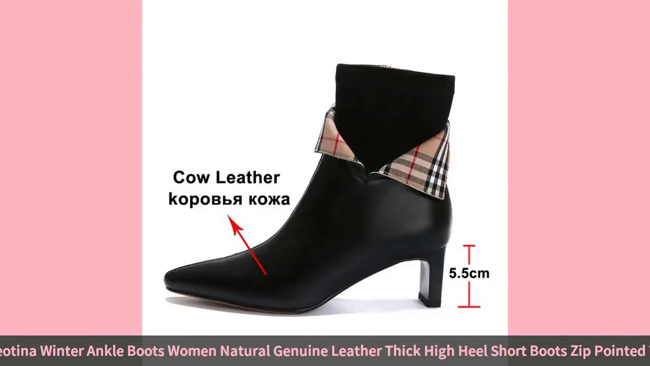 Meotina Winter Ankle Boots Women Natural Genuine Leather Thick High Heel Short Boots Zip Pointed …