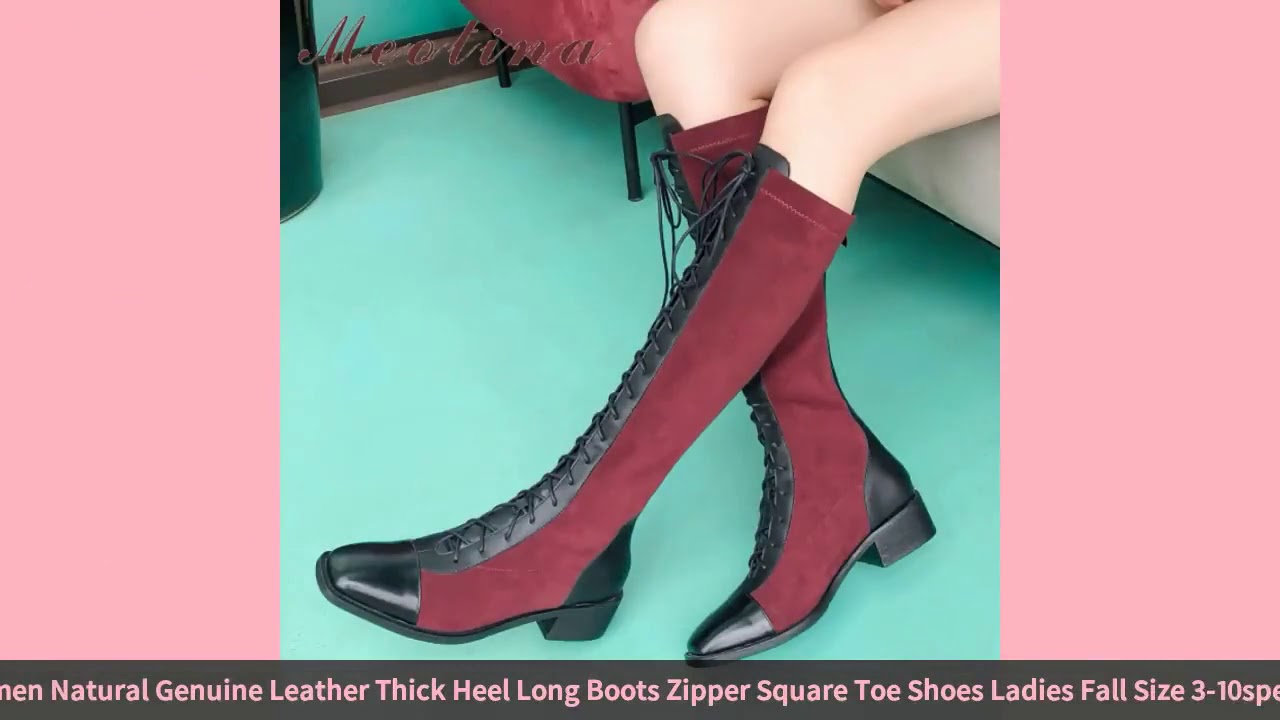 Meotina Winter Knee High Boots Women Natural Genuine Leather Thick Heel Long Boots Zipper Square …
