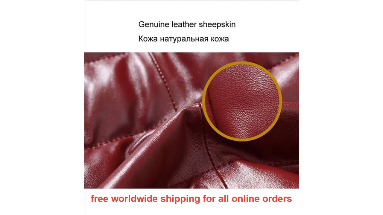 Recommended Men Genuine Leather Down Jacket Winter Outerwear Black/Red