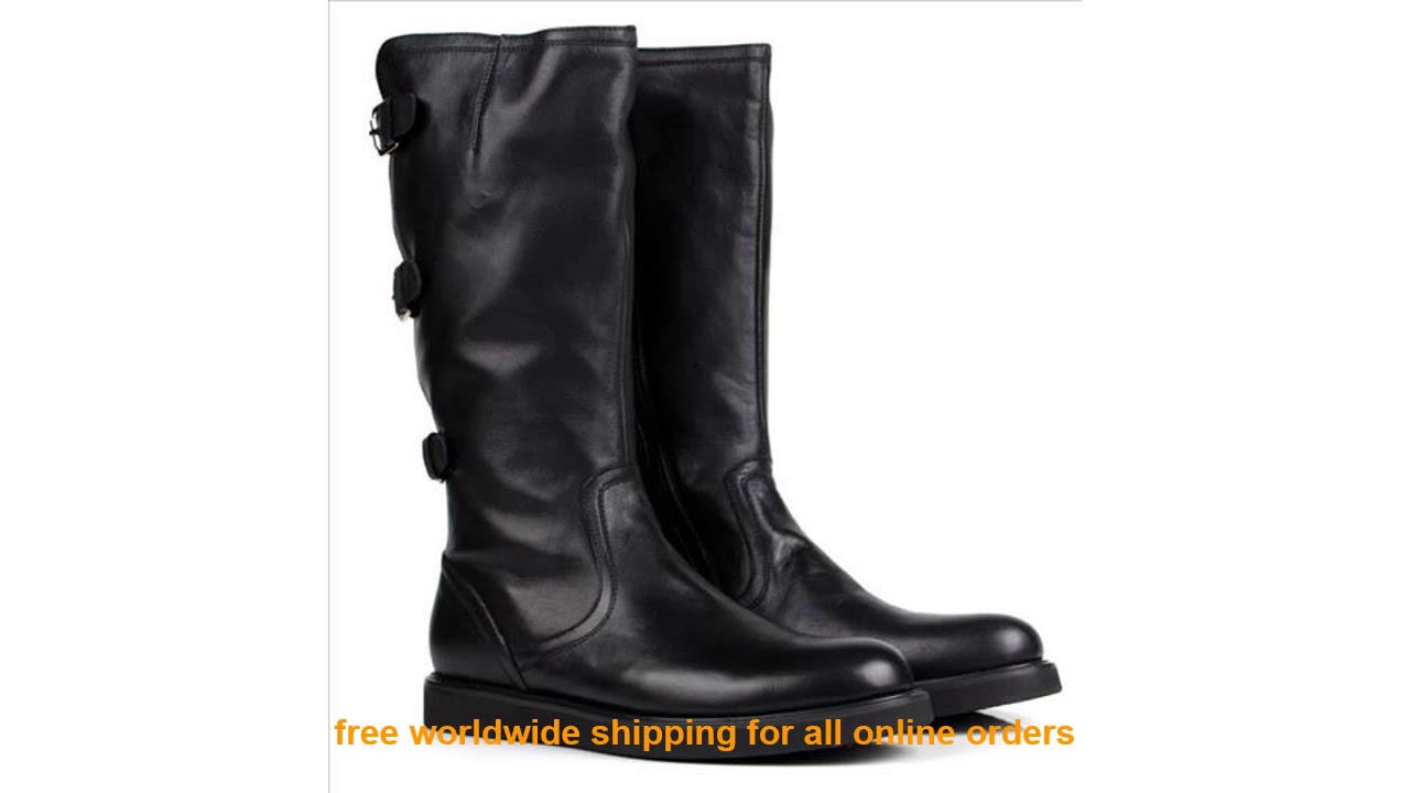 Very Cheap Large Size EUR45 Fashion Knee High Black Mens Boots Motorcy