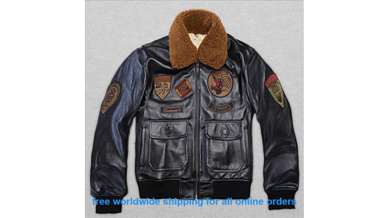 Recommended 2017 New Men's Pilot Jacket Wool Collar Fat loose large si