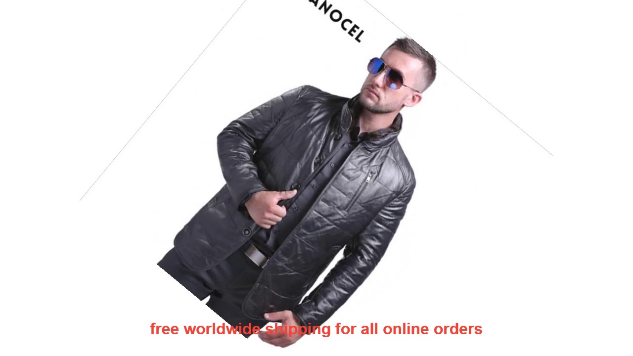 Low Price AIBIANOCEL Fashion Men Real Leather Coat Men's Genuine Leath