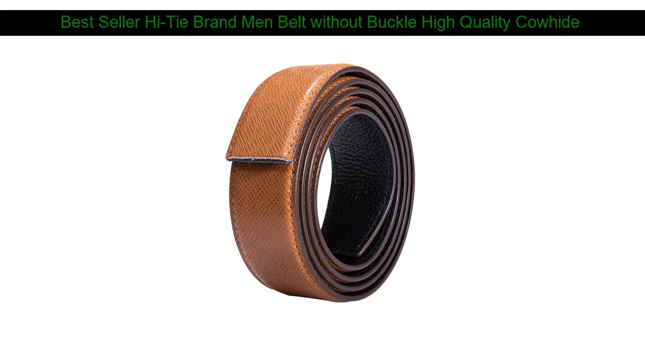 Best Offer Hi-Tie Brand Men Belt without Buckle High Quality Cowhide Genuine Leather Belt without B