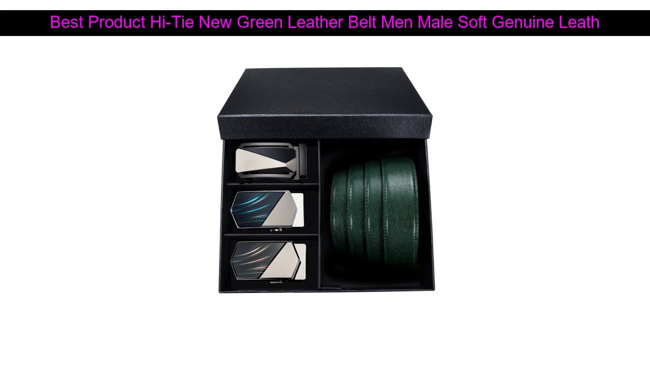 Best Offer Hi-Tie New Green Leather Belt Men Male Soft Genuine Leather Automatic Buckle Belts for M