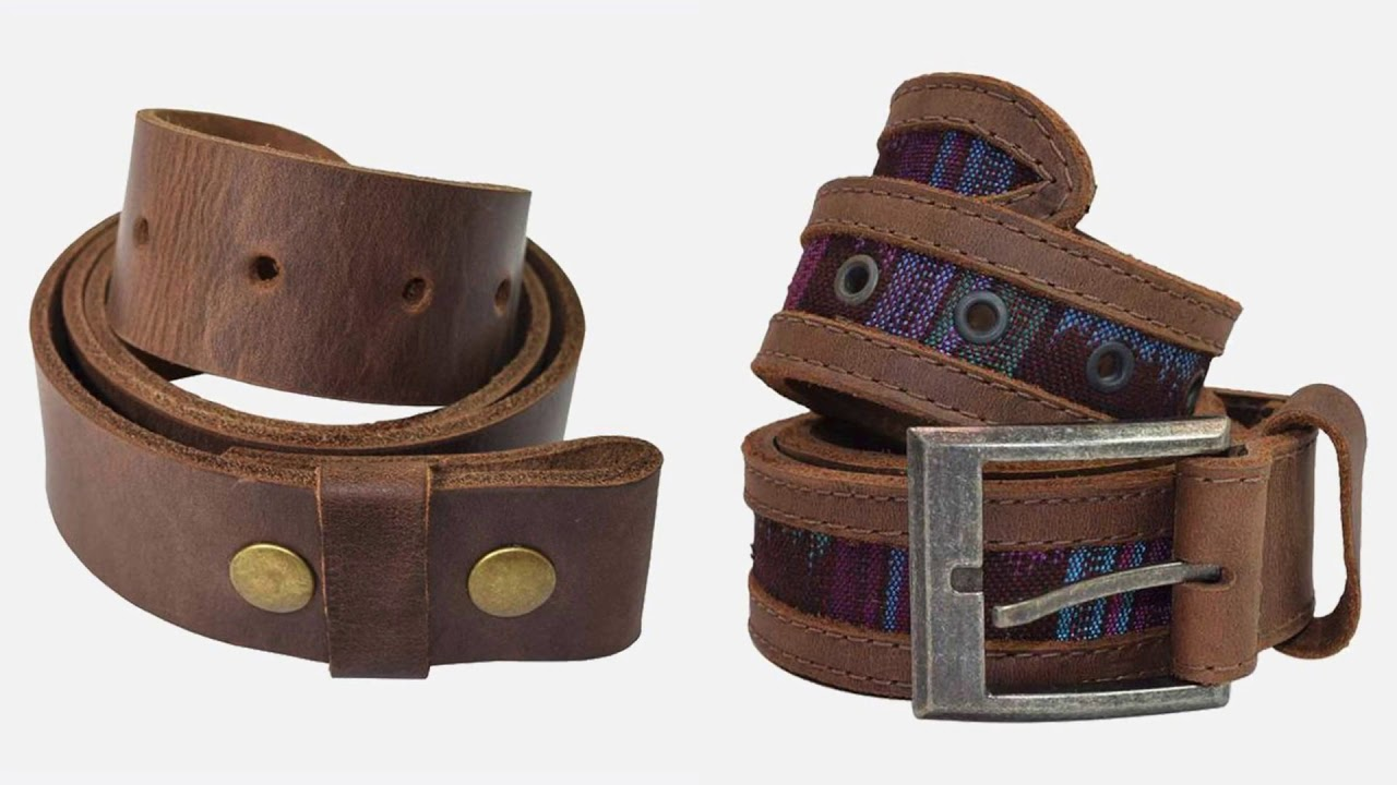 Men's Two Row Stitch Leather Belt Handmade By Hide & Drink I