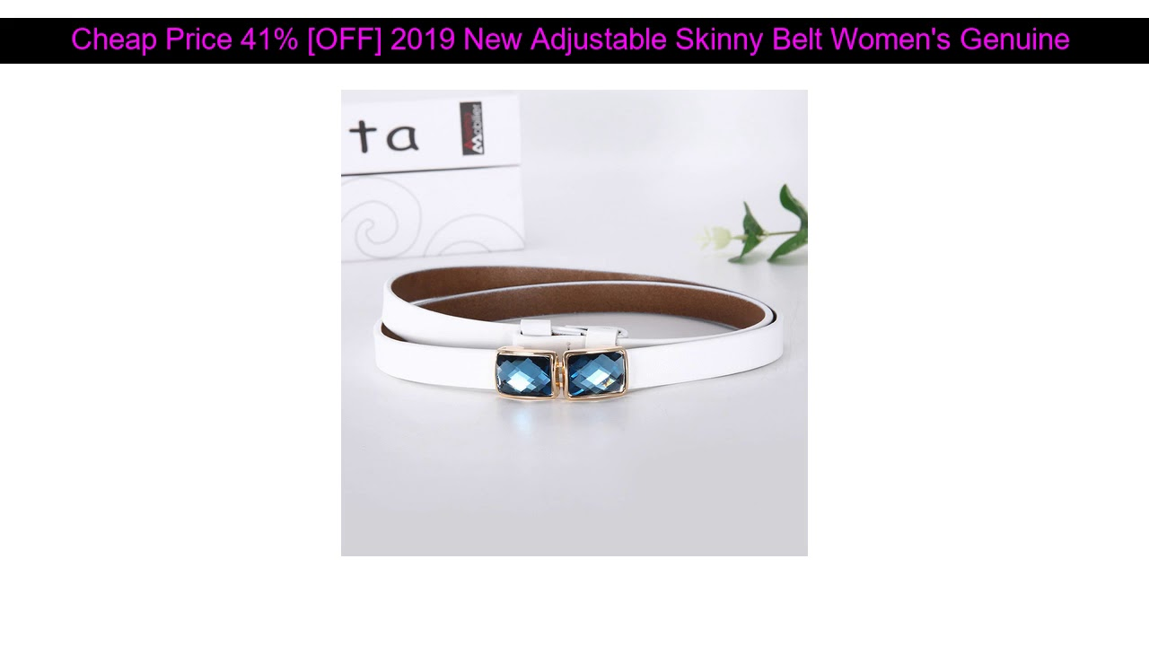 √ Best Discount 41% [OFF] 2019 New Adjustable Skinny Belt Women's Genuine Leather Belt with Shiny A