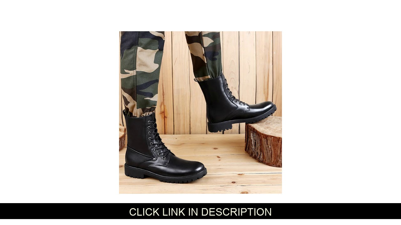 Trending Product High Ankle Shoes Men Black Military Leather Boots Plus Size 38-46 Military Tactica