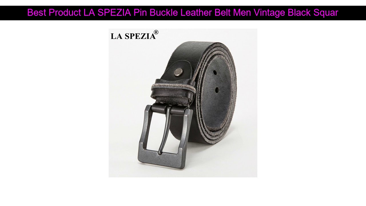 Best Offer LA SPEZIA Pin Buckle Leather Belt Men Vintage Black Square Belts Male Italy Genuine Leat