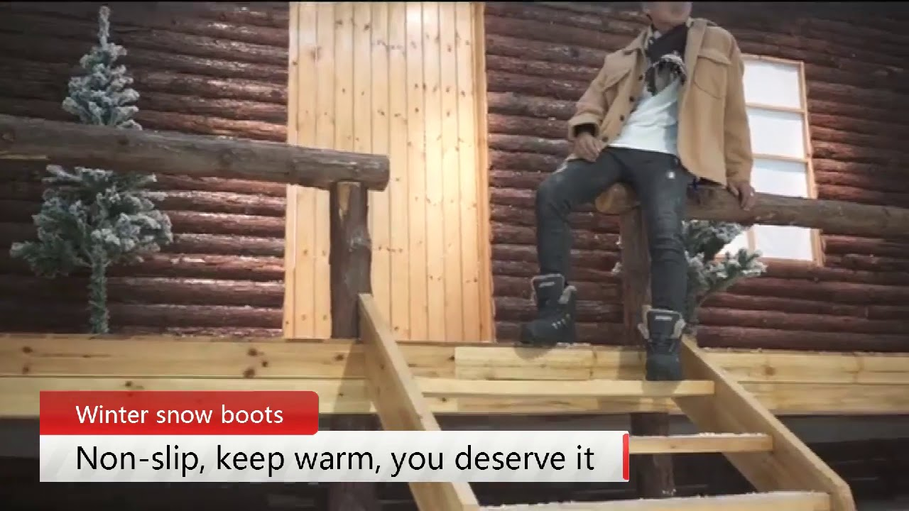 Men Winter Lace-Up Snow Boots Plush Warm Non-slip and Waterproof