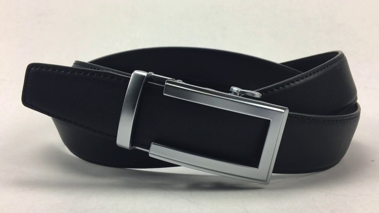Carosung Wholesale Matte Silver Automatic Buckle Genuine Leather Belt