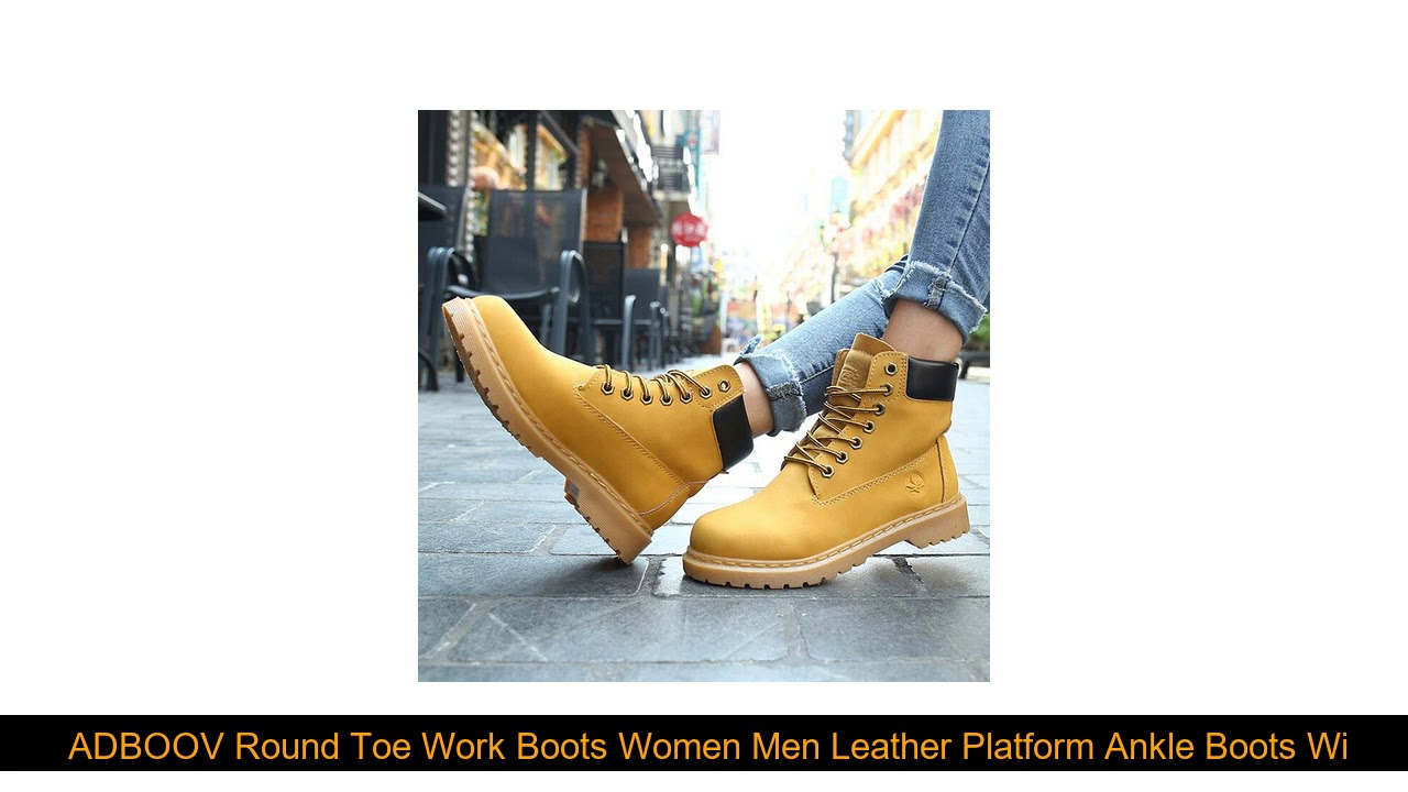 Best  ADBOOV Round Toe Work Boots Women Men Leather Platform Ankle Boots Winter Shoes Rubber Sole C
