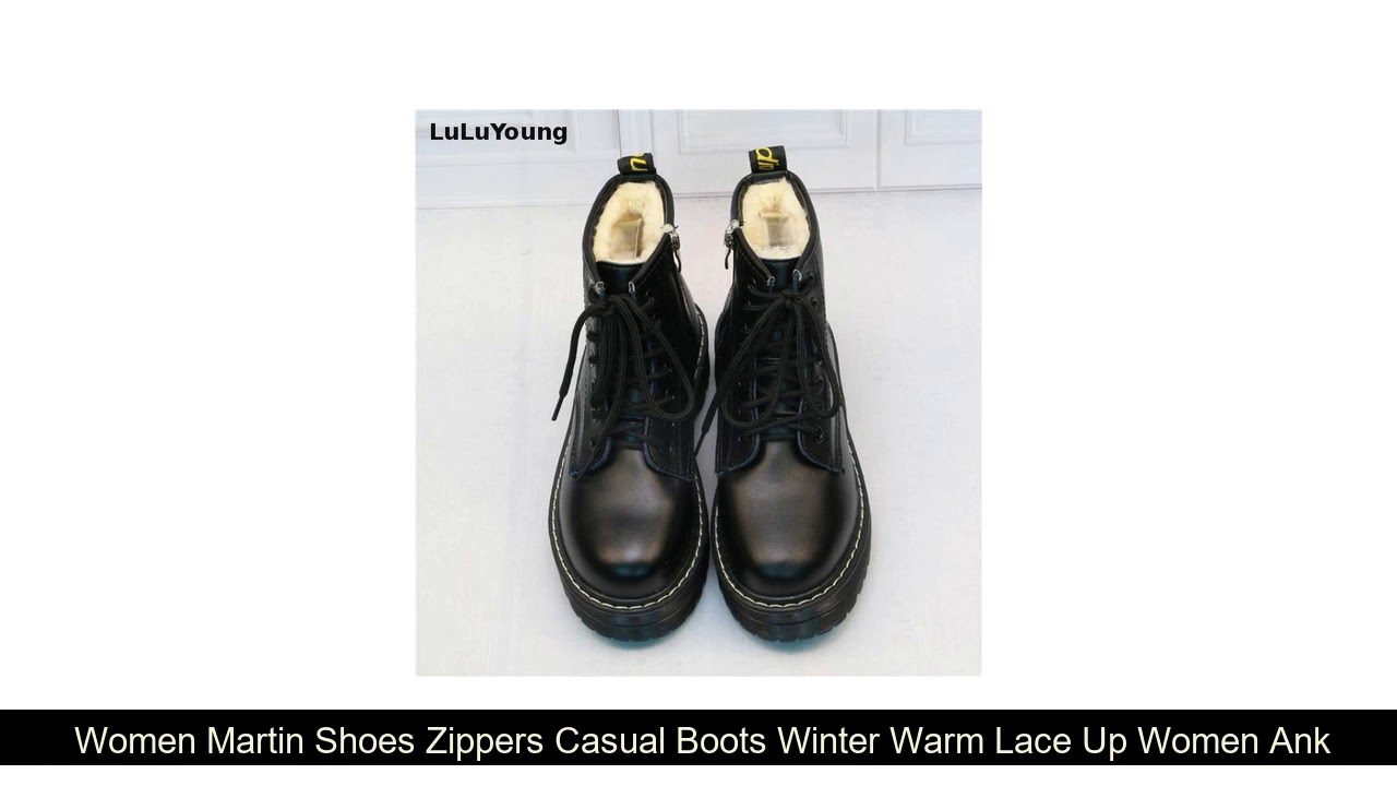Buy  Women Martin Shoes Zippers Casual Boots Winter Warm Lace Up Women Ankle Boots