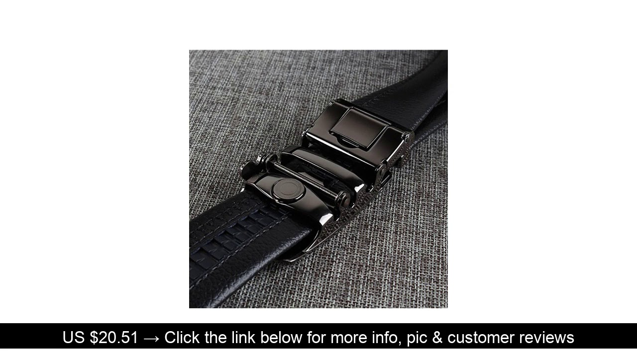⚡️ IFENDEI Men's First Layer Real Leather Belt Double-sided Leather Automatic Buckle Belt Casual Bu